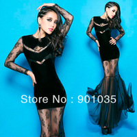 Free Shipping New 2013 Sexy Womens Women Mesh Perspective Open Back Bodycon Stretch Party Pencil N566