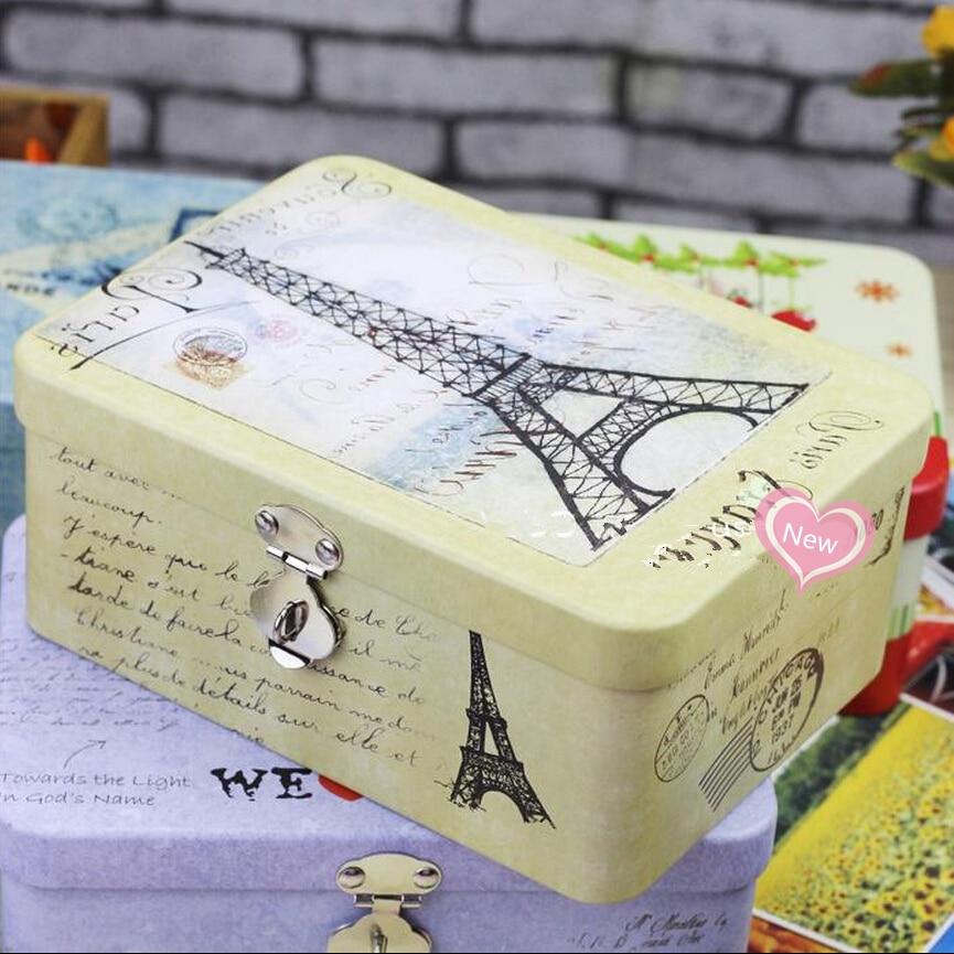 Portable Big Metal Box Case Makeup Organizer Large Capacity Desktop Storage Box with Lock Jewelry Box