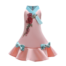 Girls Dress 2018 Embroidery Flower Summer Children Party Dresses For Cute Prom Gown Kids Clothes