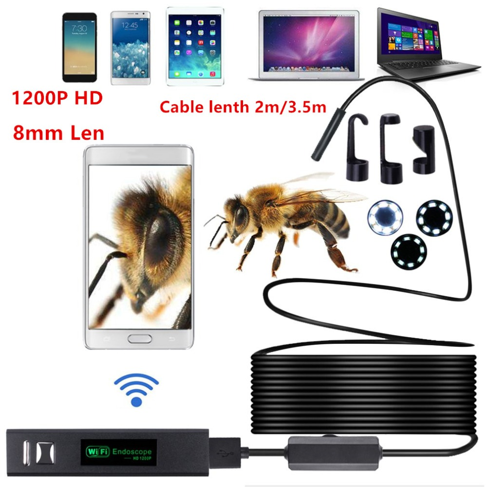 WiFi Camera Endoscope 2M/3.5M 8LED Endoscope Camera 1200P HD Borescope Camera IP68 Waterproof Pipe Inspection For Android IOS 2m hd 1200p wireless wifi endoscope mini waterproof semi rigid inspection camera 8mm lens 8led borescope for ios and android pc