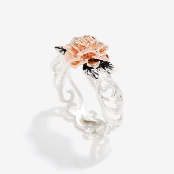 Vendita calda In Oro Rosa Colore Del Fiore della Rosa Anello Vintage 925 Sterling Silver Doppio Colore di Fidanzamento di Cerimonia Nuziale Delle Donne Festa della Monther regalo