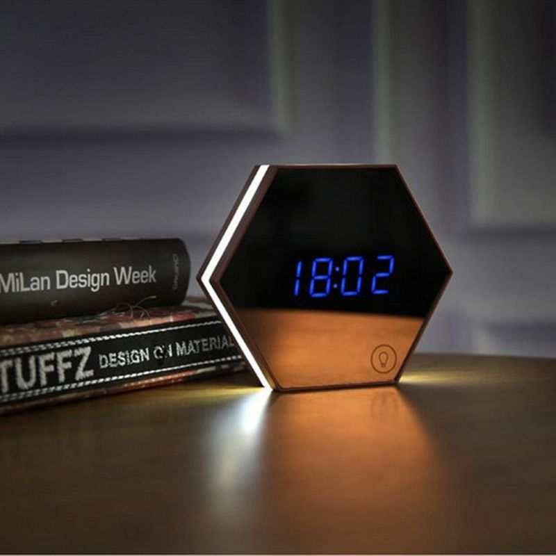 Multi-function Led Digital Alarm Clock Night Light Temperature Display Mirror Thermometer Touch Sensing USB Charging  Table Lamp
