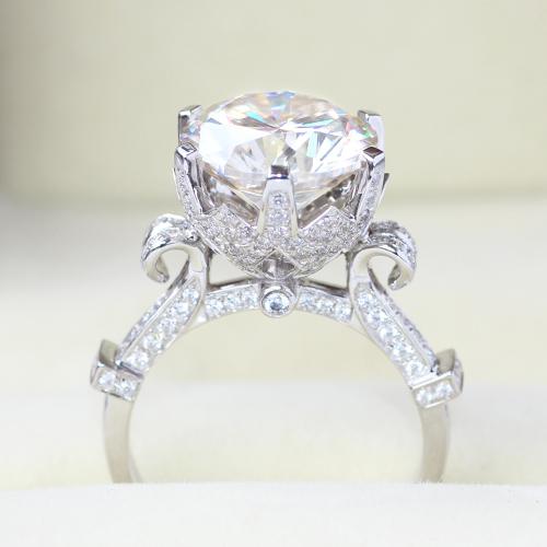 Sólido 14 k 585 Oro Blanco 5 Carat Siempre Brillante Anillo de Compromiso Moissanite Para Las Mujeres Lab Test Positivo Grown Diamond