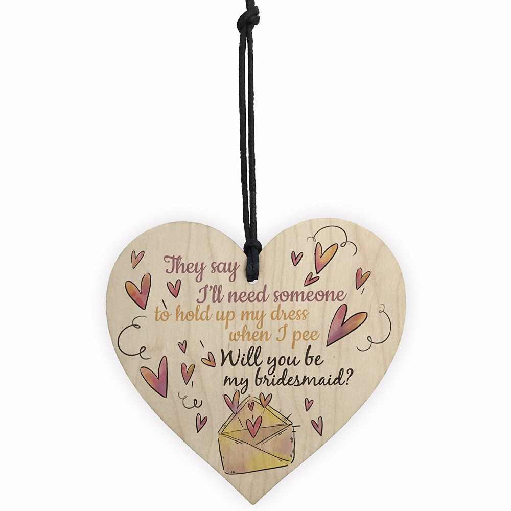 Meijiafei FUNNY Will You Be My Bridesmaid Wooden Hanging Heart Brides Wedding Invitation Keepsake Sign Plaque Favours
