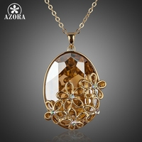 Five Flower 18K Gold Plated Big SWA Element Austrian Crystal Pendant Necklace FREE SHIPPING Azora TN0060