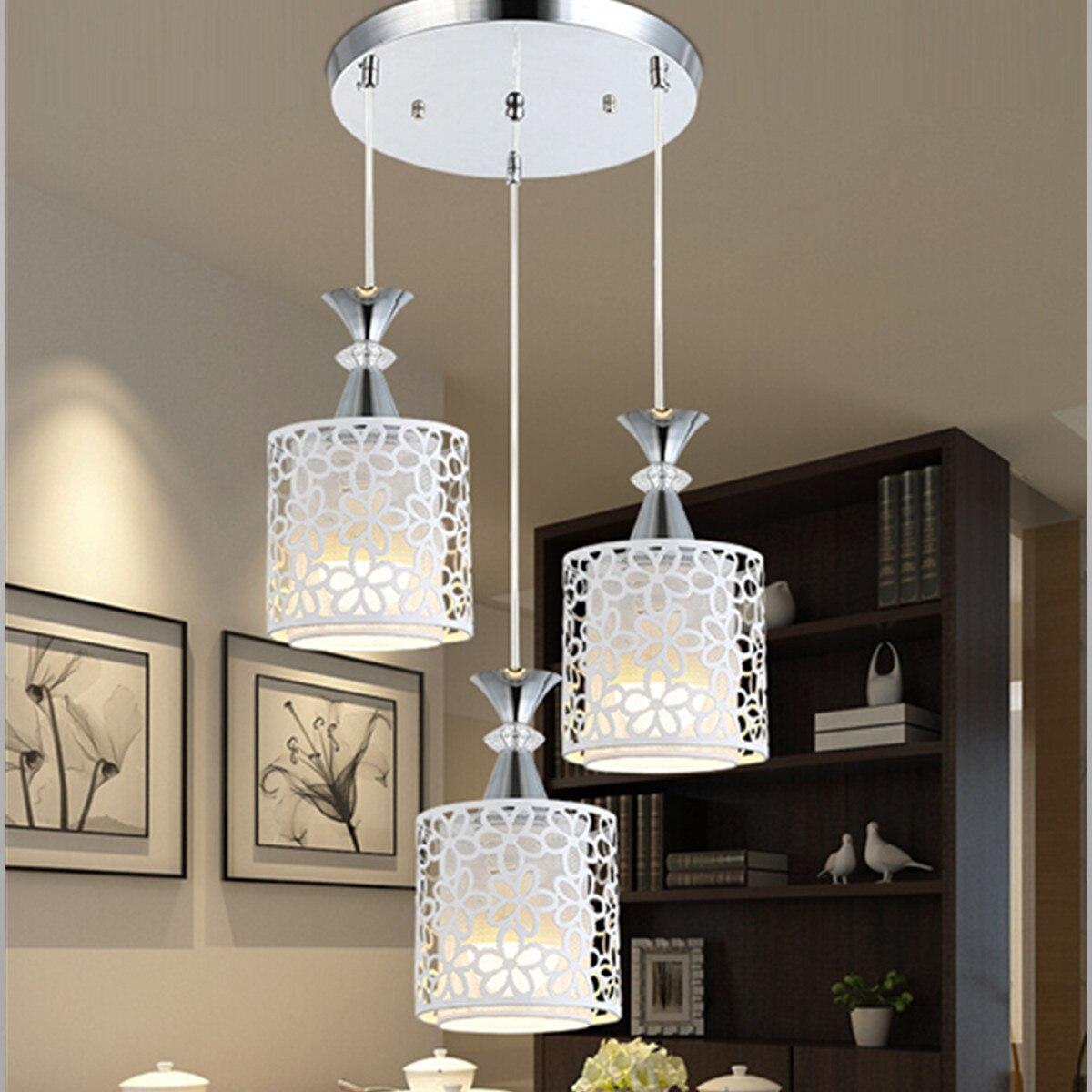 Modern Crystal Ceiling Lights Flower Lampshade White Light LED Lamp Living Room Indoor Lighting