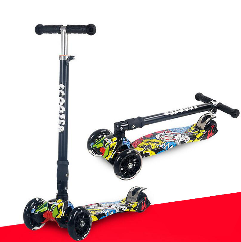 Kick Scooter 4 Flashing PU Wheels Height-Adjustable Fast-Folding Lean-to-Steer Braking Pedal Safe Scooters Child Outdoor
