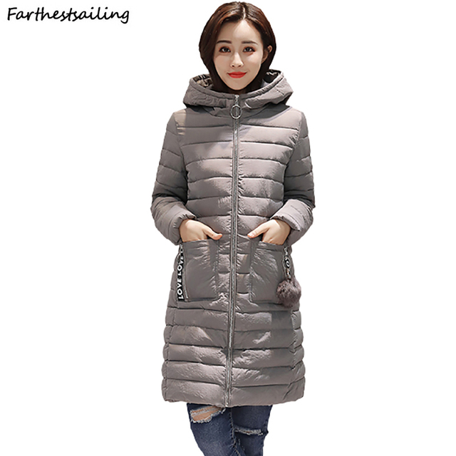 871f3d80ad0 2018 Women Autumn Winter Hooded Warm Coat Slim Cotton Padded Jacket Female  Medium-long Feminina Female Parka Ladies Outerwear