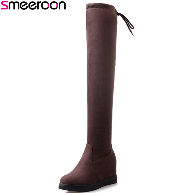 Smeeroon new fashion round toe over the knee boots for women flat bottom slip on women boots autumn winter boots party shoes
