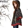 Artka Women'S Autumn Winter Vintage Fur Hooded Full Sleeve Floral Print Short Zipper Blue Down Coat MA11343D