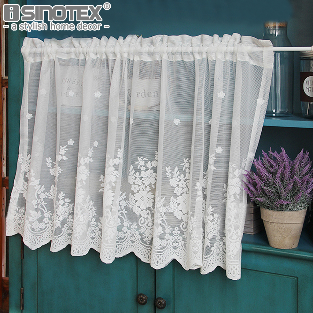 Pastoral Kitchen Curtain Fashion Cafe Floral Polyester Voile Lace Small Cafe Curtain For The Kitchen Home Decoration 1 Pcs Aliexpress