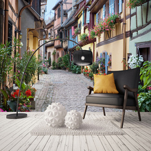 3D Custom Wallpaper European Street Retro City Landscape