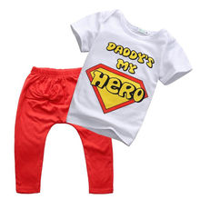 2pcs 2016 Hotsale Newborn Toddler Infant Baby Boy Girl Letter Clothes Short Sleeve T-shirt Tops+Long Pants Outfits Set