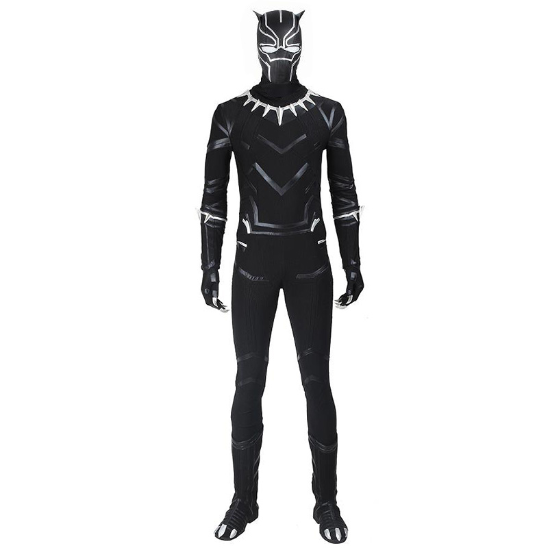 T'Challa Black Panther Costume The Avengers Infinity War Cosplay Outfit Halloween Superhero Jumpsuit Custom Made With Boots