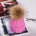 15 Colors Children Genuine Real Raccoon Fur Ball hats Winter Hat Cap For Kids Boy Girl Warm Fur Pom Poms Ski Hat Fur Pompoms Hat