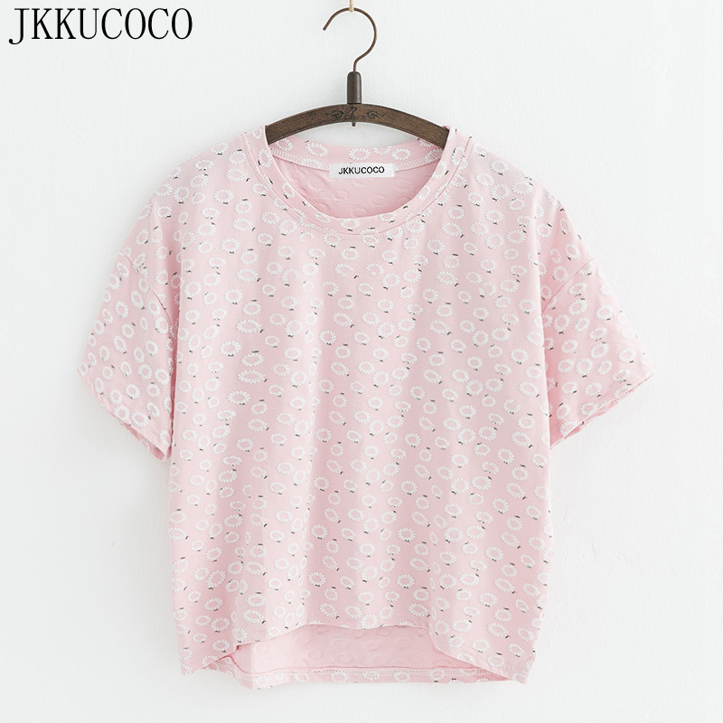 JKKUCOCO Chrysanthemum Cotton T shirt Women t shirt front short back long Short Casual T shirt