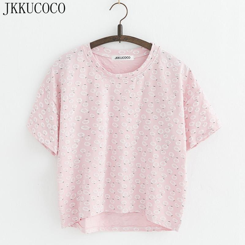 JKKUCOCO Chrysanthemum Cotton   T  -  shirt   Women   t     shirt   front short back long Short Casual   T     shirt   Women   T  -  Shirts   Hot Tops Tees