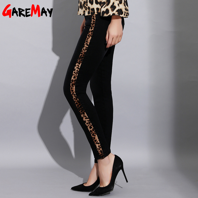 adf4d7a72237 Women Skinny High Waisted Black Jeans with Stripes Sexy Leopard Print  Striped Jeans Elastic Women Pencil