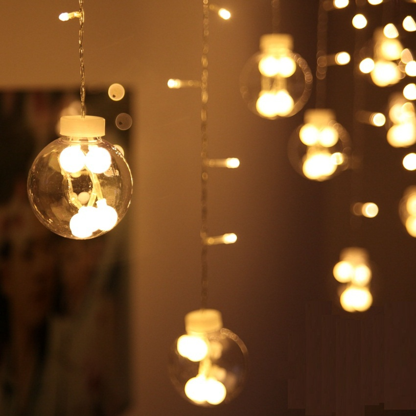 LED String Lights, Shop Window Decoration Light Curtain String Light, Xmas Romantic Bedroom Lighting, 110V/220V, 3m*0.6m