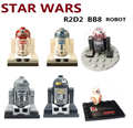 6 unids STAR WARS Droide astromecánico Escape R2-D2 R2-Q2 Rojo R2-Q2 BB-8 R2-D5 Death Star Figuras Compatible ladrillos Bloque Kit juguetes