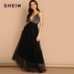 Image 4 - SHEIN noir entrecroisé dos Sequin corsage maille licou col en V profond ajustement et Flare solide mince longue robe automne femmes robes de fête
