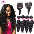 """Peruvian Loose Wave With Closure 4 Bundles With Closure unproscessed  peruvian hair 4"""" x4"""" Lace Closure With Bundles Human Hair"""