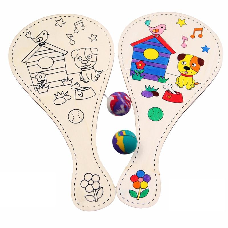 Random Style White Blank Wooden Racket With Ball DIY Craft Toy Cartoon Drawing Graffiti Kindergarten Kids Hand-made Toys