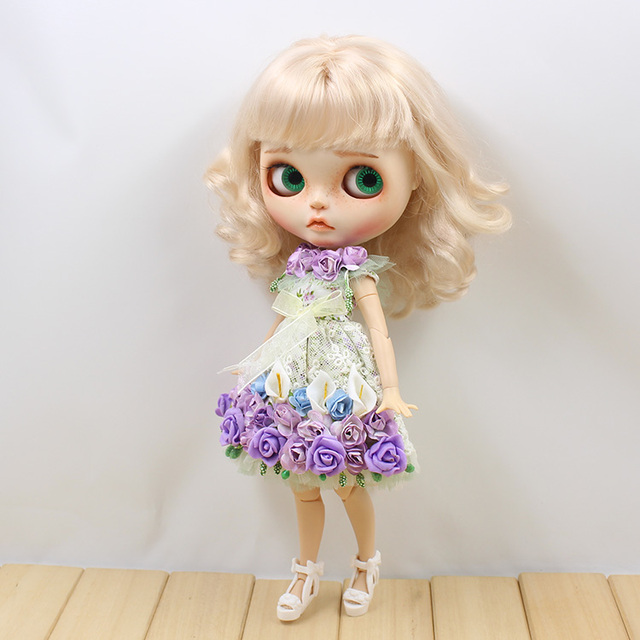 Neo Blythe Doll Purple Rose Dress