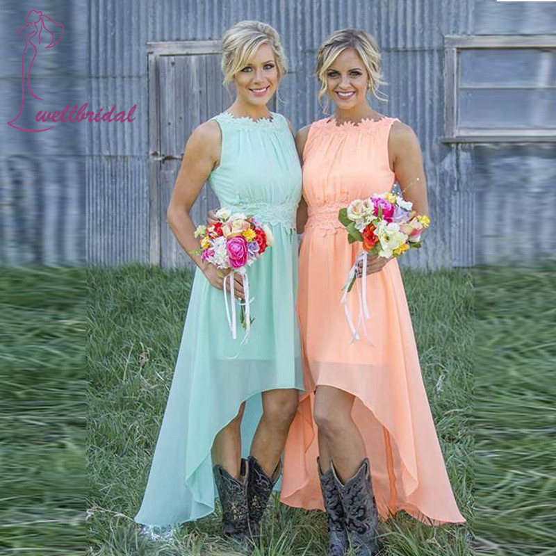 Sexy 2017 Fashion Scoop Hi Lo Gown Bridesmaid Dress Tank Flowers Zipper Back Wedding Long Formal Bridesmaid Dresses For Women