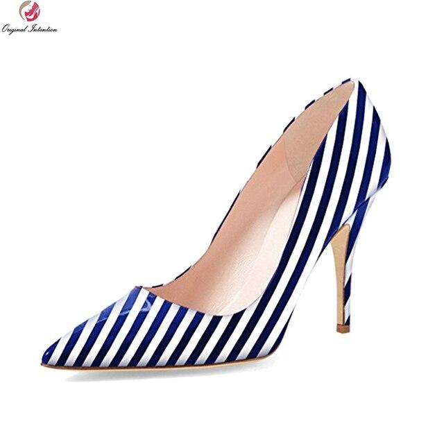 Первоначальное намерение Новые пикантные женские туфли-лодочки модные туфли-лодочки с острым носком на тонком каблуке высококачественные Обувь 8 цветов Женская обувь; большие американские размеры 4–15