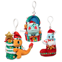 New Anime Stuffed Animals key ring Holiday Extravaganza Charmander Bulbasaur Squirtle Plush Keychains Soft key chain Doll Toys