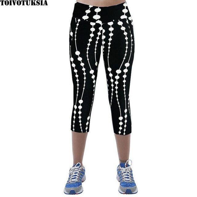 TOIVOTUKSIA Legging Women Print Summer Style Black Pants Capris Women Leggins Female Pants Thin and Soft Mid Calf Legging