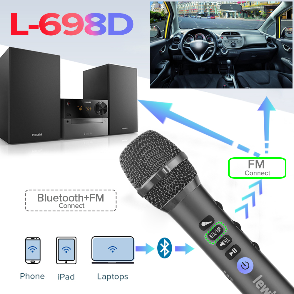 Lewinner L-698D Wireless Karaoke microphone,20W Professional Bluetooth microphone speaker with DSP Sound effect chip