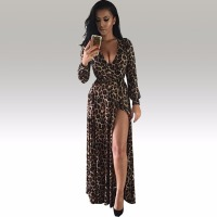 Womens Sexy Deep V Neck Low Cut Slit Leopard Print Casual Prom Party Long Dress Long