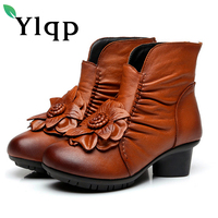 Ylqp Vintage Women Genuine Leather Boots Retro Cowhide Leather Women S Boots Mother Folk Style Winter