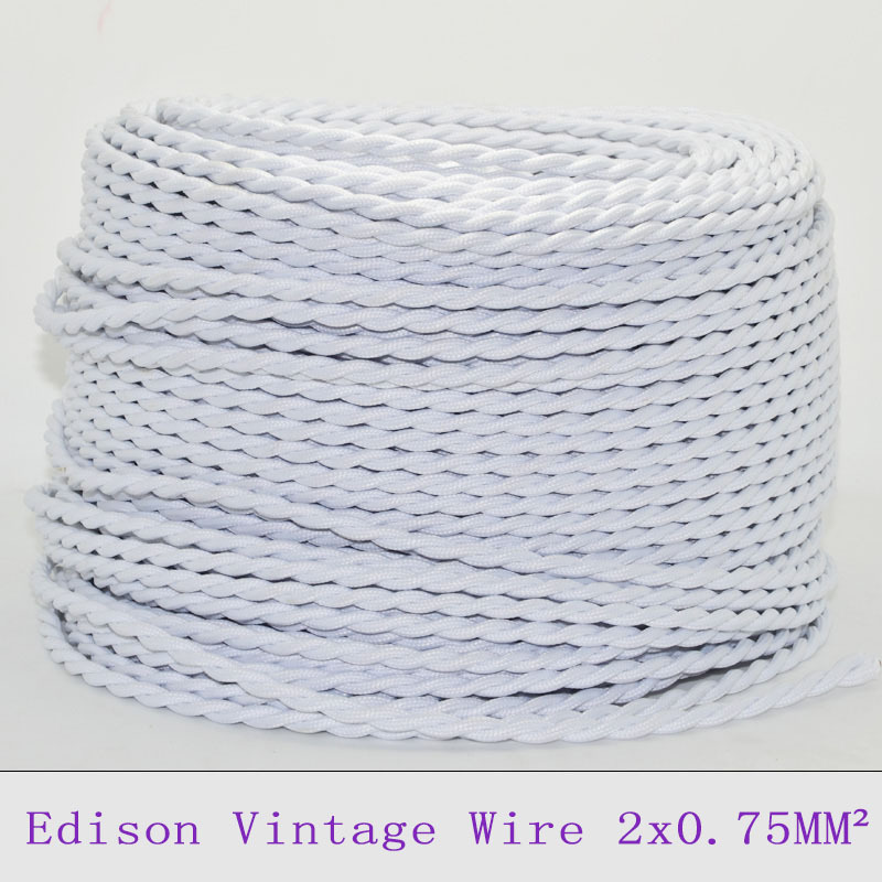 2075mm2 vintage lamp cord twisted wire retro white braided 2075mm2 vintage lamp cord twisted wire retro white braided electrical wire fabric chandelier cable pendant light lamp wire 10m in electrical wires from mozeypictures Images