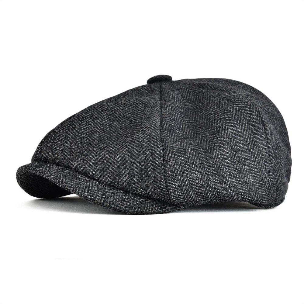 VOBOOM Woollen Tweed Newsboy Cap Men Women Herringbone Mens Hat Wool Blend Apple Caps Eight Panel Cabbie Hats 131