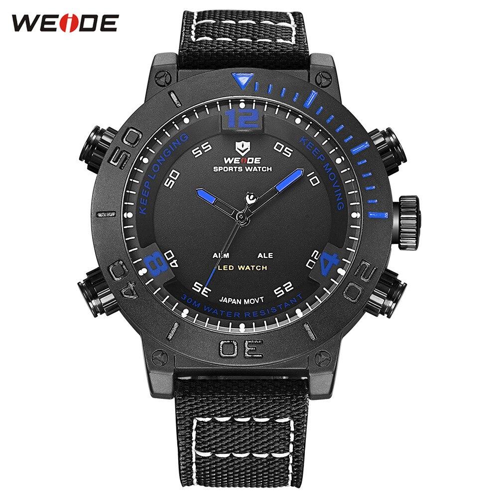 Men Nylon Band Blue Watch Men's Digital Quartz LED Male 30M Waterproof Sports Army Wristwatch Relogios