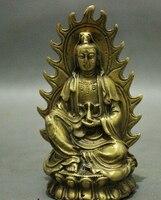 005793 chinesischen Buddhismus Messing GuanYin kwan yin Buddha Göttin Topf Set Statue Figurine-in Statuen & Skulpturen aus Heim und Garten bei