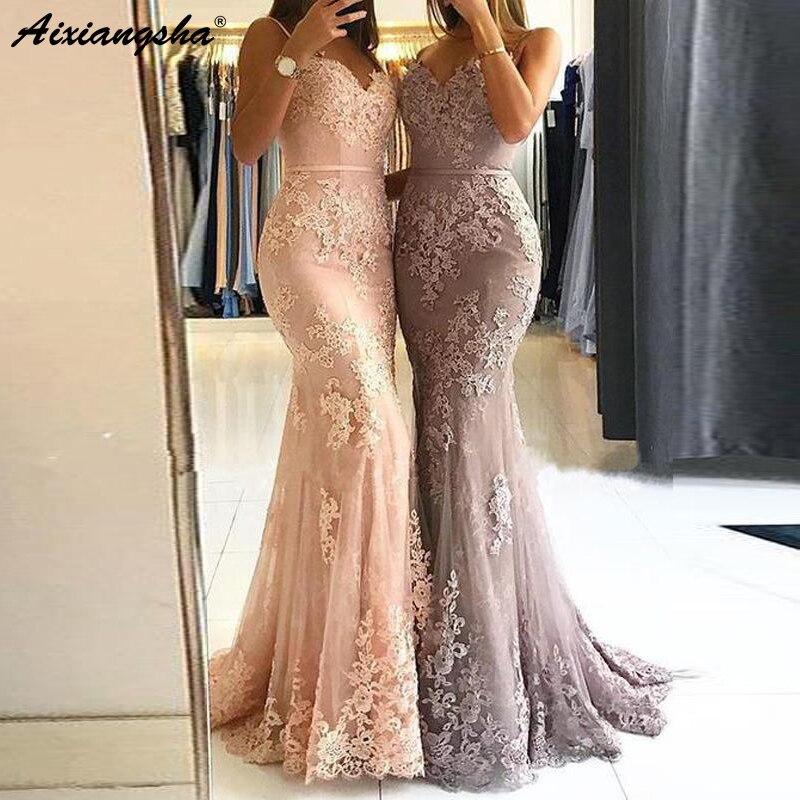 Abiye gece elbisesi chérie bretelles Spaghetti étage personnalisé dentelle fête robe de bal 2019 longues robes de bal sirène