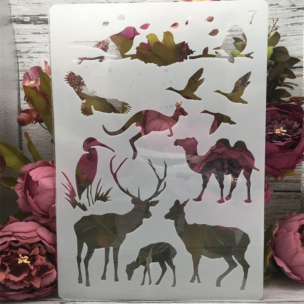 A4 29cm Camel Kangaroo Deer Bird DIY Layering Stencils Painting Scrapbook Coloring Embossing Album Decorative Paper Template