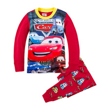 knitted cotton 100 toddler kid pajamas set with cute cartoon pattern Cars 02