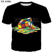 3d Print Melting Rubik Cube T Shirt Men Summer Casual Tshirt Short Sleeve O-neck Tees Sheldon Geek Retro 80's Party T shirts rubik s мишка рубика 3х2х1 rubik s