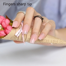 24pcs Hot sell Long section Square head candy false nails decoration Transparent pink D03