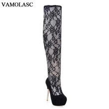 VAMOLASC New Women Spring Autumn Lace Over the Knee Boots Sexy Thin High Heel Boots Elegant Platform Women Shoes Plus Size 34-42
