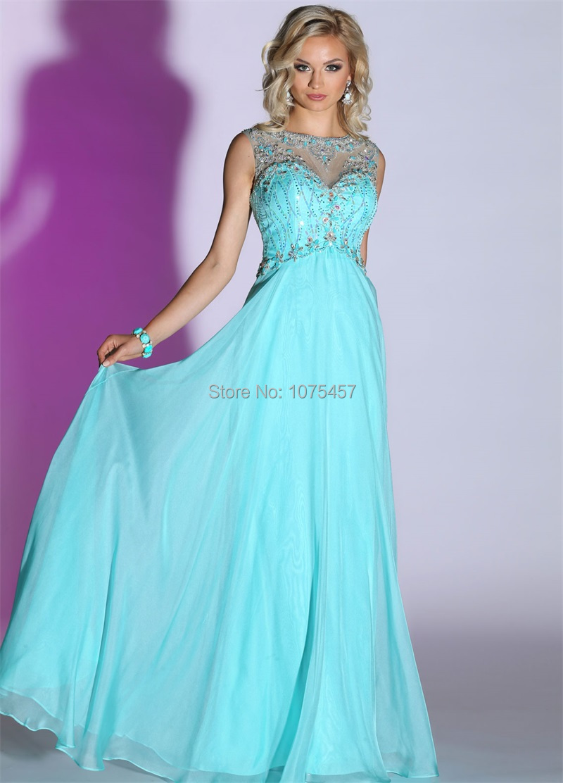Latest Design Baby Blue High Neck Prom Dress 2015 Crystal Beaded ...