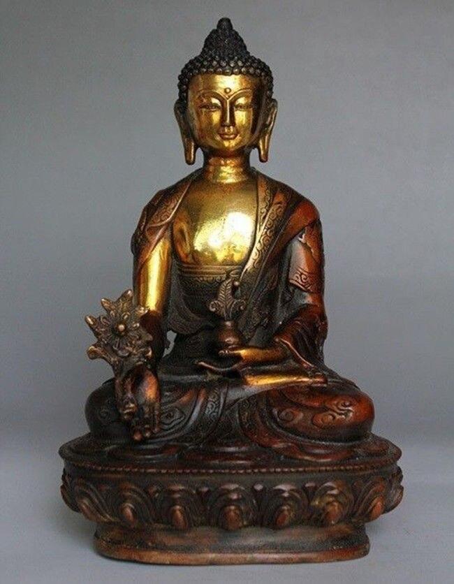 Tibetan Brass Buddhism Bodhisattva Sakyamuni Buddha Statue