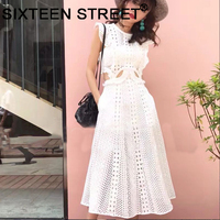woman white lace dress sleeveless ruffle hollow out sexy high end dress New summer street night party vestidos bodycon female