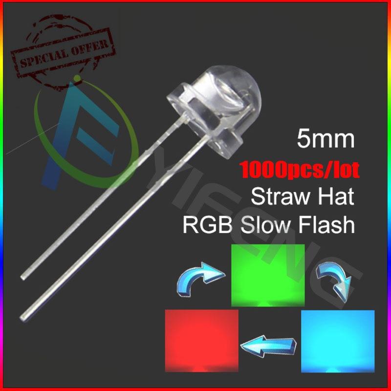 1000pcs 5mm Straw Hat Colorful Slow Flashing Flash RGB Red Blue Green LED Leds 5mm strawhat rgb slow flashing led