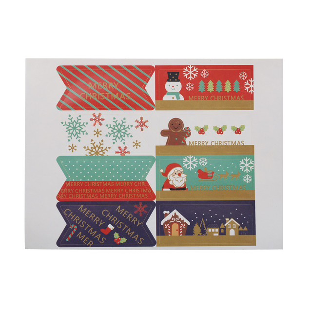 Us 0 62 16 Off 40pcs 5 Sheets Merry Christmas Santa Claus Snowman Gift Boxes Bags Sealing Sticker Snowflake Cake Label Stickers Decorative Gift In